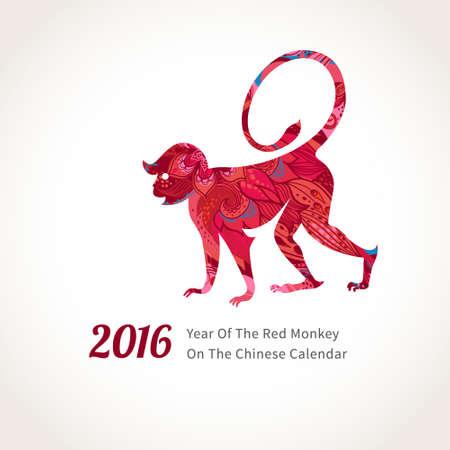원숭이의 벡터 일러스트 레이 션, 중국 달력에 2016의 상징. 꽃 패턴으로 장식 걷는 원숭이의 실루엣. 새 해의 디자인을위한 벡터 요소입니다. 레드 원숭