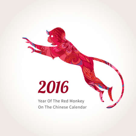 Vector illustration of monkey, symbol of 2016 on the Chinese calendar. Silhouette of jumping monkey, decorated with floral patterns. Vector element for New Year's design. Image of 2016 year of Red Monkey.