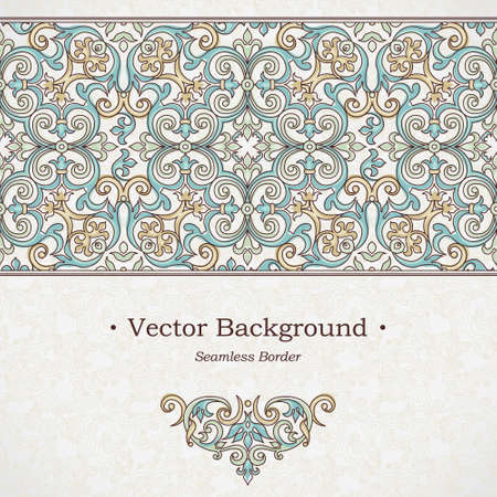 pattern: Vector ornate seamless border in Victorian style. Gorgeous element for design, place for text. Ornamental vintage pattern for wedding invitations, birthday and greeting cards. Traditional outline decor.