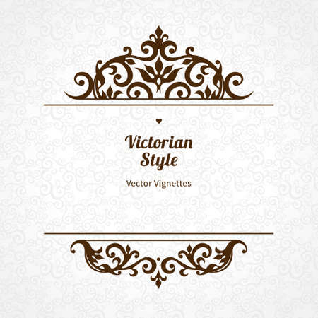vector element: Vector floral vignette in Victorian style on scroll work background. Ornate element for design. Place for text. Ornament for wedding invitations, birthday and greeting cards, certificate. Lacy decor. Illustration