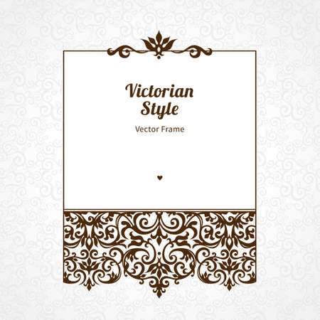 Vector decorative frame in Victorian style. Elegant element for design template, place for text. Black floral border. Lace decor for birthday and greeting card, wedding invitation, certificate.