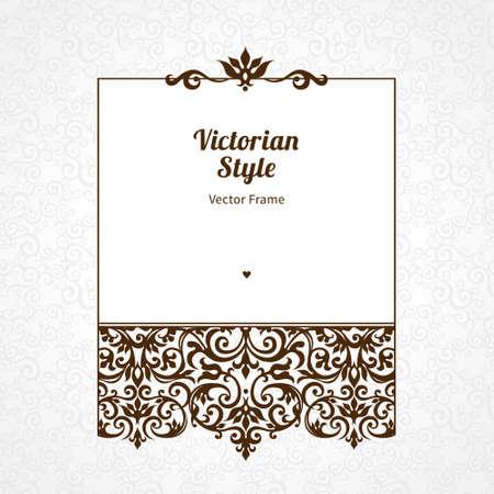 Vector decoratieve frame in Victoriaanse stijl. Elegant element voor ontwerp sjabloon, plaats voor tekst. Zwarte bloemen grens. Kant decor voor verjaardag en wenskaart, bruiloft uitnodiging, certificaat.