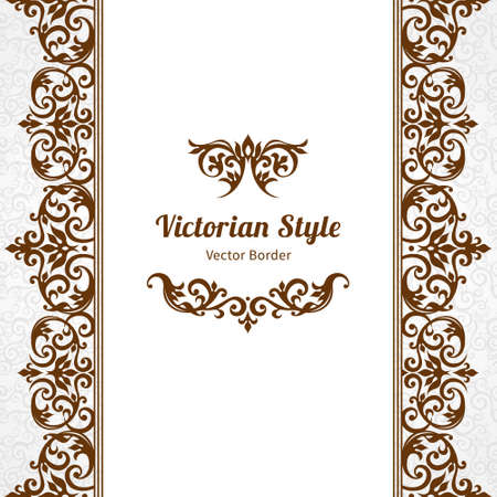 frieze: Vector ornate seamless border in Victorian style. Gorgeous element for design, place for text. Ornamental vintage pattern for wedding invitations, birthday and greeting cards. Traditional brown decor. Illustration