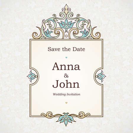 marco cumpleaños: Vector marco decorativo en estilo victoriano. Elemento de plantilla de diseño elegante, el lugar de texto. Frontera floral en colores pastel. Decoración de encaje para el cumpleaños y tarjeta de felicitación, invitación de la boda, gracias mensaje.