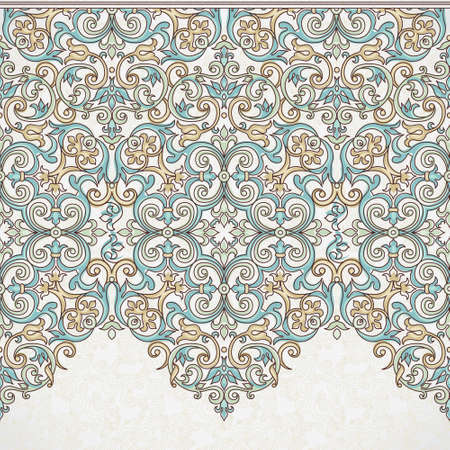 filigree background: Vector ornate seamless border in Victorian style. Gorgeous element for design, place for text. Ornamental vintage pattern for wedding invitations, birthday and greeting cards. Traditional outline decor.
