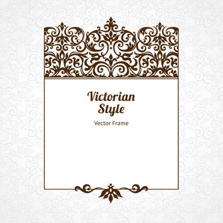 victorian frame: Vector decorative frame in Victorian style. Elegant element for design template, place for text. Black floral border. Lace decor for birthday and greeting card, wedding invitation, certificate.