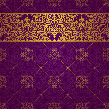 vintage vector: Vector ornate seamless border in Eastern style. Line art element for design, place for text. Ornamental vintage frame for wedding invitations, greeting cards. Golden pattern. Traditional decor.