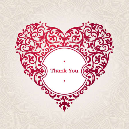 Ornate vector Herzen im viktorianischen Stil. Elegant element für Logo-Design, Platz für Text. Schnüren Blumenabbildung für Hochzeitseinladungen, Grußkarten, Valentinstag-Karten. Danke, dass du Nachricht. Vintage-Rahmen in Form von Herzen. Standard-Bild - 46470078