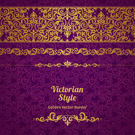 baroque ornament: Vector ornate seamless border in Eastern style. Line art element for design, place for text. Ornamental vintage frame for wedding invitations, greeting cards. Golden pattern. Traditional decor.