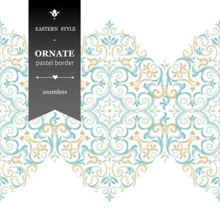 filigree border: Vector ornate seamless border in Eastern style. Gorgeous element for design, place for text. Ornamental vintage pattern for wedding invitations, birthday and greeting cards. Traditional pastel decor.