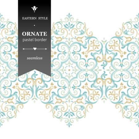 Vector sierlijke naadloze grens in Oost-stijl. Prachtige element voor ontwerp, plaats voor tekst. Sier vintage patroon voor bruiloft uitnodigingen, verjaardag en wenskaarten. Traditionele pastel decor. Stockfoto - 46470082
