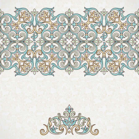 floral border: Vector ornate seamless border in Victorian style. Gorgeous element for design, place for text. Ornamental vintage pattern for wedding invitations, birthday and greeting cards. Traditional outline decor.