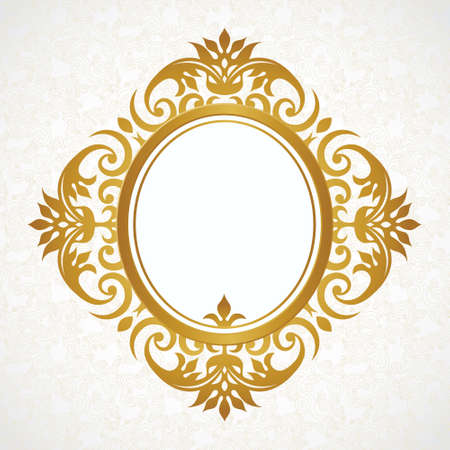 Vector decorative frame in Victorian style. Elegant element for design template, place for text. Golden floral border. Lace decor for birthday and greeting card, wedding invitation, certificate.