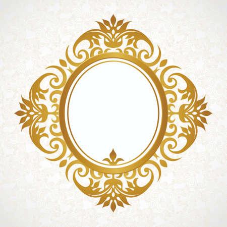 Vector marco decorativo en estilo victoriano. Elemento de plantilla de diseño elegante, el lugar de texto. Frontera floral de oro. Decoración de encaje para el cumpleaños y tarjeta de felicitación, invitación de boda, certificado.
