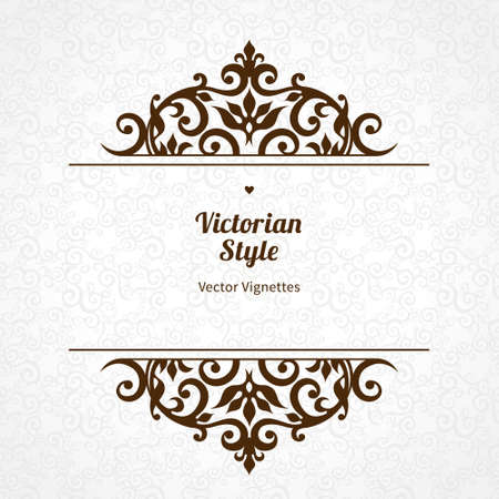 scroll work: Vector floral vignette in Victorian style on scroll work background. Ornate element for design. Place for text. Ornament for wedding invitations, birthday and greeting cards, certificate. Lacy decor. Illustration