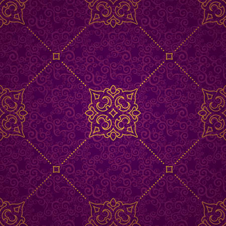vintage design: Vector seamless pattern with golden ornament. Vintage element for design in Eastern style. Ornamental lace tracery. Ornate floral decor for wallpaper. Endless texture. Bright pattern fill.
