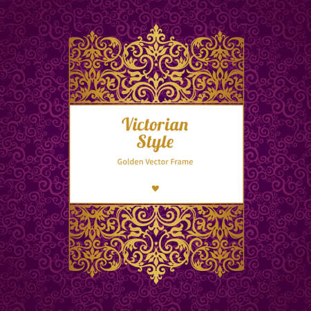 victorian frame: Vector decorative frame in Victorian style. Elegant element for design template, place for text. Golden floral border. Floral decor for birthday and greeting card, wedding invitation, certificate.