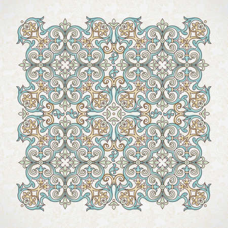 traditional pattern: Vector vintage pattern in Victorian style. Ornate floral element for design. Ornament pattern for wedding invitations, birthday and greeting cards. Traditional outline decor. Square illustration.