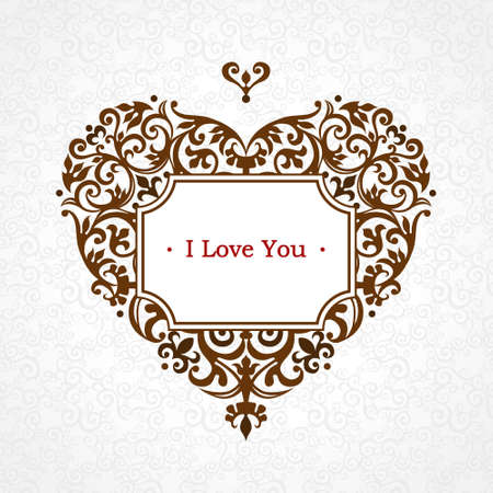 motif: Ornate vector heart in Victorian style. Elegant element for logo design, place for text. Lace floral illustration for wedding invitations, greeting cards, Valentines cards. Thank you message. Vintage frame in shape of heart.