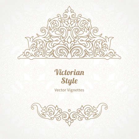 arabesco: Vector floral ilustración de estilo victoriano en el fondo el trabajo de desplazamiento. Adornado elemento para el diseño. Lugar para el texto. Ornamento para las invitaciones de boda, cumpleaños y tarjetas de felicitación, certificado. Decoración de encaje.