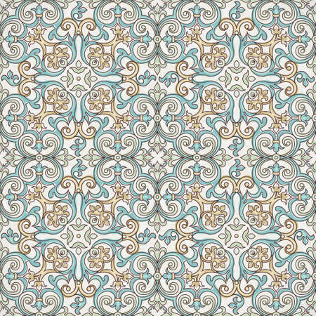 tracery: Vector seamless pattern with outline ornament. Vintage element for design in Victorian style. Ornamental lace tracery. Ornate floral decor for wallpaper. Endless texture. Pastel pattern fill. Illustration