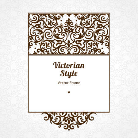 scroll design: Vector decorative frame in Victorian style. Elegant element for design template, place for text. Black floral border. Lace decor for birthday and greeting card, wedding invitation, certificate.