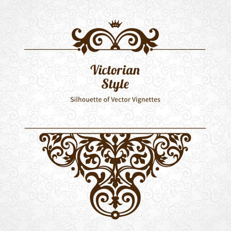 classic contrast: Vector floral vignette in Victorian style on scroll work background. Ornate element for design. Place for text. Ornament for wedding invitations, birthday and greeting cards, certificate. Lacy decor. Illustration