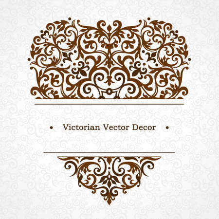 scroll design: Vector floral vignette in Victorian style on scroll work background. Ornate element for design. Place for text. Ornament for wedding invitations, birthday and greeting cards, certificate. Lacy decor. Illustration