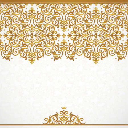 Vector ornate seamless border in Victorian style. Gorgeous element for design, place for text. Ornamental vintage pattern for wedding invitations, birthday and greeting cards.Traditional golden decor. 向量圖像