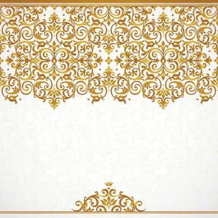 Vector sierlijke naadloze grens in Victoriaanse stijl. Prachtige element voor ontwerp, plaats voor tekst. Sier vintage patroon voor bruiloft uitnodigingen, verjaardag en groet cards.Traditional gouden decor. Stock Illustratie