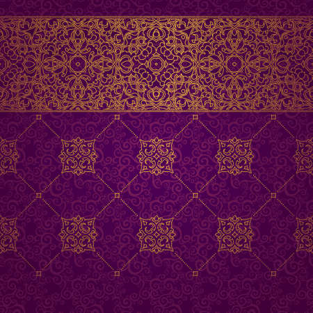 Vector ornate seamless border in Eastern style. Line art element for design, place for text. Ornamental vintage frame for wedding invitations and greeting cards. Golden pattern. Traditional outline decor.