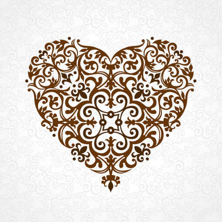 ornate heart: Ornate vector heart in Victorian style. Elegant element for logo design. Lace floral illustration for wedding invitations, greeting cards, Valentines cards. Vintage decor in shape of heart.