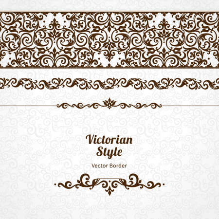 victorian frame: Vector ornate seamless border in Victorian style. Gorgeous element for design, place for text. Ornamental vintage pattern for wedding invitations, birthday and greeting cards. Traditional black decor. Illustration