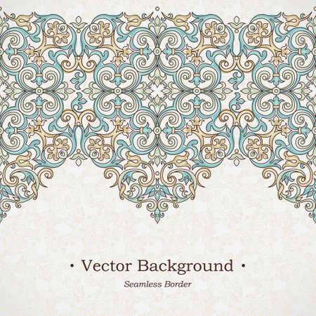 pattern vintage: Vector ornate seamless border in Victorian style. Gorgeous element for design, place for text. Ornamental vintage pattern for wedding invitations, birthday and greeting cards. Traditional outline decor.