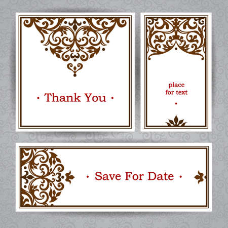 contrast floral: Vintage ornate cards in Victorian style. Contrast floral decor. Template ornamented frame for birthday and greeting card, wedding invitation, save for date. Ornate vector border. Easy to use, layered. Illustration