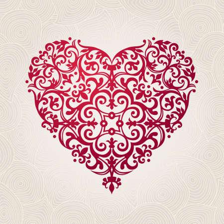 arabesco: vector corazón adornado en estilo victoriano. elegante elemento para el diseño del logotipo. Encaje de ilustración floral para invitaciones de boda, tarjetas de felicitación, tarjetas de San Valentín. decoración de época de color rosa en forma de corazón.
