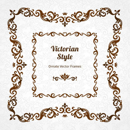 victorian frame: Vector decorative frame in Victorian style. Elegant element for design template, place for text. Black floral border. Floral decor for birthday and greeting card, wedding invitation, certificate.
