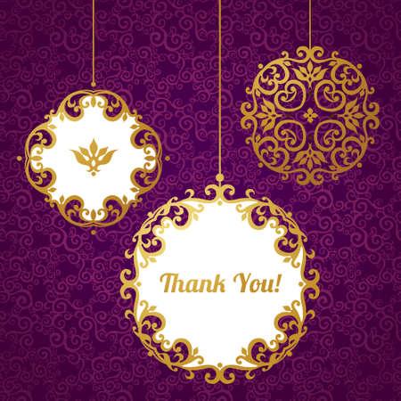 arabesco: Conjunto de vector de marcos decorativos de estilo victoriano. Elegante elementos para el diseño, el lugar de texto. Border.Decor floral de oro para las invitaciones de boda, San Valentín, cumpleaños y tarjetas de felicitación. Gracias.