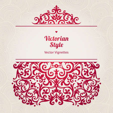 vignettes: Vector floral vignette in Victorian style on scroll work background. Ornate element for design. Place for text. Ornament for wedding invitations, birthday and greeting cards, certificate. Pink decor.
