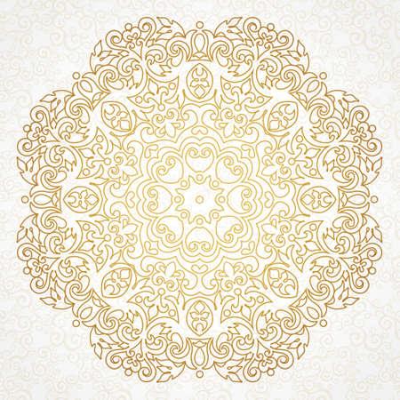 arabesco: patrón de la vendimia del vector en estilo victoriano. Elemento floral para el diseño adornado. Modelo del ornamento para las invitaciones de boda, cumpleaños y tarjetas de felicitación. decoración esquema tradicional. Mandala.