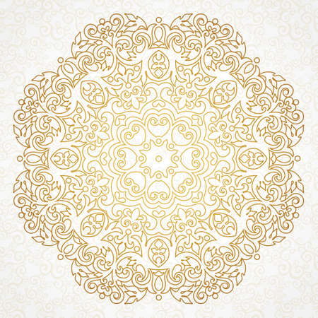 Vector vintage pattern in Victorian style. Ornate floral element for design. Ornament pattern for wedding invitations, birthday and greeting cards. Traditional outline decor. Mandala. Illustration