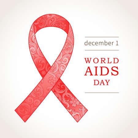 fight disease: Red ribbon with ornate decor. Symbol of World AIDS Day, December 1. Vector illustration for design placard, leaflet, poster, banner. Medicine concept.