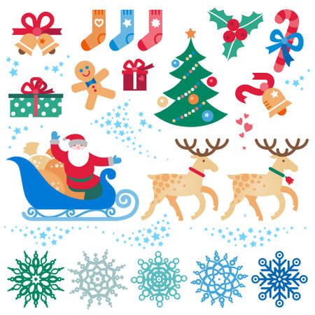 santas sleigh: Set of christmas vector elements, winter holidays icons collection. Santa Claus in sleigh, Christmas tree, snowflakes. Happy New Years decor for brochures, magazines, leaflets, best wishes card.