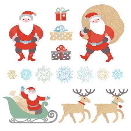 trineo: Bright conjunto de elementos del vector de Navidad, invierno colección de fiesta iconos. Papá Noel con bolsa de regalos, Santa Claus en trineo, los copos de nieve. Decoración Feliz Año Nuevo para el diseño de la plantilla.