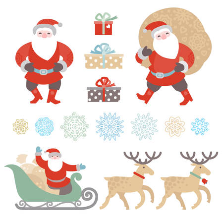 santas sack: Bright set of Christmas vector elements, winter holidays icons collection. Santa Claus with bag of gifts, Santa Claus in sleigh, snowflakes. Happy New Years decor for design template.