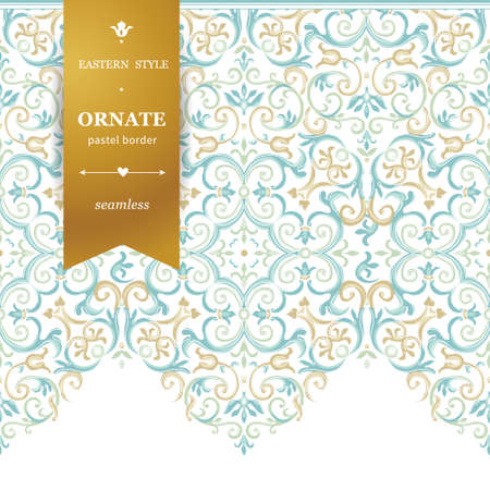 motif pattern: Vector ornate seamless border in Eastern style. Gorgeous element for design, place for text. Ornamental vintage pattern for wedding invitations, birthday and greeting cards. Traditional pastel decor.