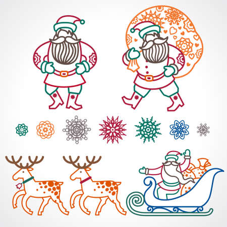 toy sack: Set of christmas vector elements, winter holidays icons collection. Santa Claus in sleigh, Christmas tree, snowflakes. Decor for brochures, magazines, leaflets, best wishes greeting card. Illustration