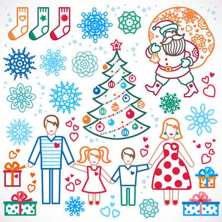 Ensemble d'éléments vectoriels de Noël, vacances d'hiver collection d'icônes. Père Noël avec un sac de cadeaux, sapin de Noël, famille heureuse. Décor pour brochures, magazines, dépliants, souhaite la meilleure carte de voeux. Banque d'images - 48223013
