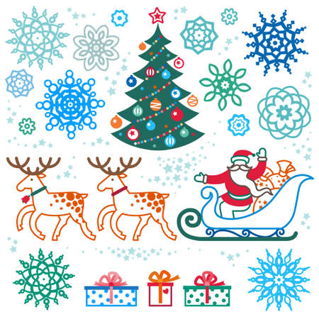 santa claus hats: Set of christmas vector elements, winter holidays icons collection. Santa Claus in sleigh, Christmas tree, snowflakes. Decor for brochures, magazines, leaflets, best wishes greeting card. Illustration