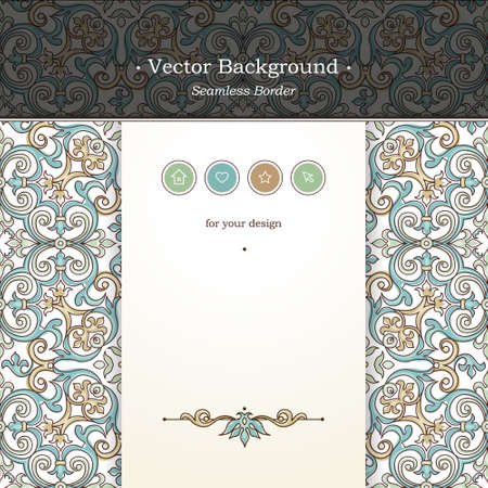 vintage border: Vector ornate seamless border in Victorian style. Web page design template, web site design. Outline floral element, place for text. Easy to use, layered. Ornamental vintage frame. Traditional decor.